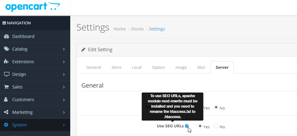opencart-settings